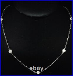 Sterling Silver 925 Rhodium 1.75ctw Round Cubic Zirconia By The Yard Necklace