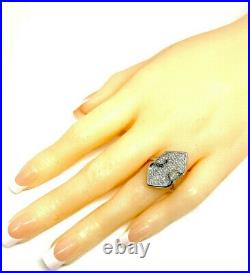 Sterling Silver 925 Rhodium Micro Pave 1.00ctw Cubic Zirconia Cocktail Ring 6