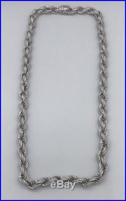 Sterling Silver 925 Solid Iced Out Mens Rope Chain 24 Inch Cubic Zirconia CZ