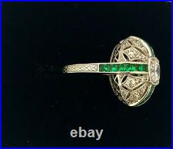 Sterling Silver Art Deco Design Ring, with Emeralds and Cubic Zirconia