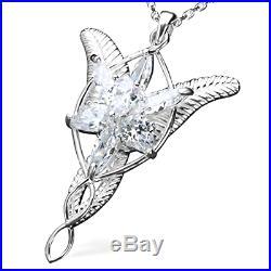 Sterling Silver Arwen Evenstar Pendant Necklace Elvish Jewelry Cubic Zirconia