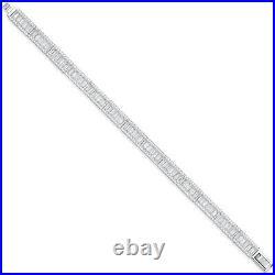 Sterling Silver Baguette & Round Cubic Zirconia Ladies Bracelet