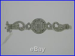 Sterling Silver Bangle Bracelet with Cubic Zirconia Stones