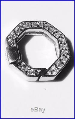 Sterling Silver Belcher Necklace + Cubic Zirconia Spring loaded Lock