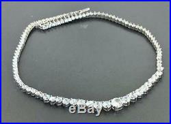 Sterling Silver Bridal Graduated Cubic Zirconia Tennis Necklace, 15 INCH