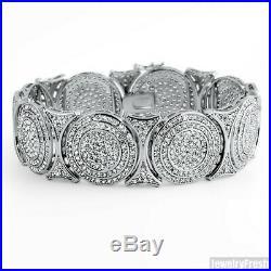 Sterling Silver Bullseye Mens Cubic Zirconia Fancy Iced Out Bracelet