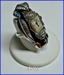 Sterling Silver Bulova Coral, Turquoise and Cubic Zirconia Long Leaf Ring 6.5