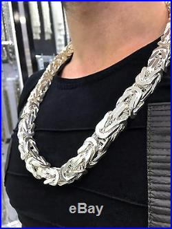 Sterling Silver Byzantine Kings Chain Necklace Cubic Solid Heavy Thick 15mm 760g