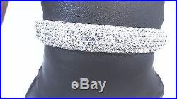 Sterling Silver CUBIC ZIRCONIA Pave Set Top Bangle Bracelet