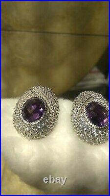 Sterling Silver Cubic Zirconia Amethyst Clip On Earrings By Judith Ripka