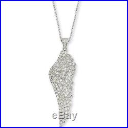 Sterling Silver Cubic Zirconia Angel Wing Pendant Necklace by Cheryl M