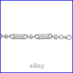 Sterling Silver Cubic Zirconia Block Chain Necklace 7mm Thick Various Length