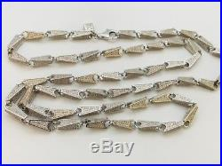 Sterling Silver Cubic Zirconia Chain. 35 inch