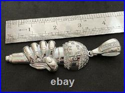 Sterling Silver Cubic Zirconia Microphone Pendant Large. UK Hallmark
