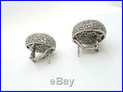 Sterling Silver Cubic Zirconia Pave Set Dome Clip Back Stud Earrings RRP $799
