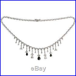 Sterling Silver Cubic Zirconia Teardrop Tennis Necklace, 16.5 inches long