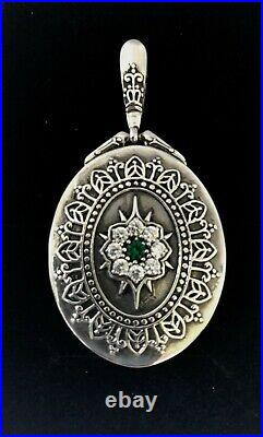 Sterling Silver, Emerald and Cubic Zirconia Locket, Pendant/Necklace