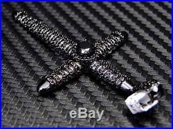 Sterling Silver Fancy C. Z Cubic Zirconia Cross Pendant Charm Black Stones Unisex