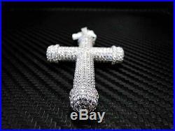 Sterling Silver Fancy C. Z Cubic Zirconia Cross Pendant Charm White Stones Unisex