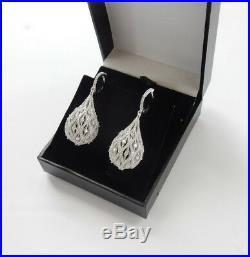 Sterling Silver Filigree Reticulated Cubic Zirconia Teardrop Earrings 16grams