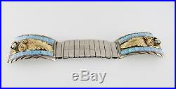 Sterling Silver Gold Plated Watch Tips with Cubic Zirconia and Synthetic Opal In
