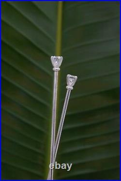 Sterling Silver Hair Sticks 2 Carat Round CZ White Cubic Zirconia AAAAA