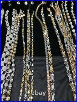 Sterling Silver Hip Hop Chains (Job Lot) Over 1kg Cubic Set