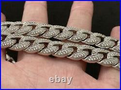Sterling Silver Icejewlz Cuban Chain Cubic Zirconia. 23 inch