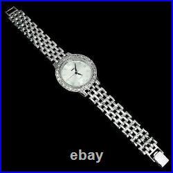 Sterling Silver Jewelry Wristwatch For Men With Cubic Zirconia & Silver Bracelet