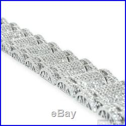 Sterling Silver Jumbo Mens Cubic Zirconia Lab Made Iced Out Bracelet