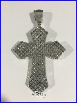 Sterling Silver Large Cross Pendant With Yellow And White Cubic Zirconia Stones