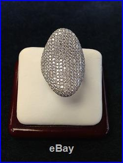Sterling Silver Large Micro Pave Ring with Cubic Zirconia Size 6 NEW