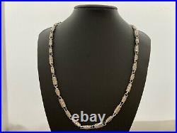 Sterling Silver Long Cubic Zirconia Chain. 31 inch. UK Hallmark