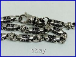 Sterling Silver Long Cubic Zirconia Chain. 36 inch. Black and White Stones