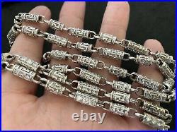 Sterling Silver Long Cubic Zirconia Chain. 36 inch. UK Hallmark