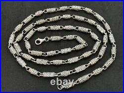 Sterling Silver Long Cubic Zirconia Chain. 36 inch. UK Hallmark