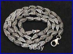 Sterling Silver Long Four Sided Link Cubic Zirconia Chain. 29 inch