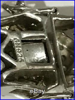 Sterling Silver Men's Silver-Tone Cz Cubic Zirconium Fancy Link Bracelet 9.25