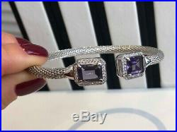 Sterling Silver Mesh Bangle Bracelet with Amethyst and Cubic Zirconia