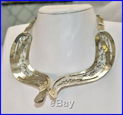 Sterling Silver Mexican Snake Collar Necklace withGoldstone & Cubic Zirconia