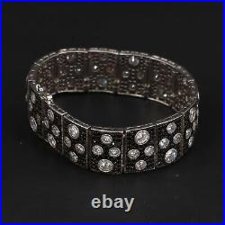 Sterling Silver Modern Cubic Zirconia & Black Tourmaline 6.75 Bracelet 48g