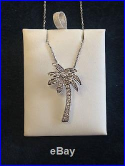 Sterling Silver Palm Tree Necklace with Cubic Zirconia NEW