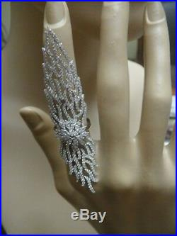 Sterling Silver Pave 5A VVS Cubic Zirconia Full Finger or Knuckle Ring-SS/925