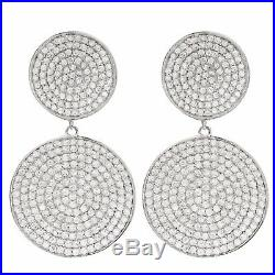 Sterling Silver Pave Cubic Zirconia Circles Womens Dangle Earrings
