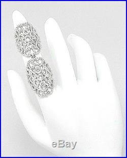 Sterling Silver Pave Open Lace Cubic Zirconia Double Knuckle Ring-925