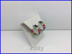 Sterling Silver & Rainbow Baguette Cubic Zirconia Hoop Earrings