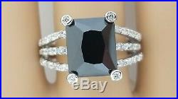 Sterling Silver Rectangle Onyx CZ Ring 11X9 Onyx 30 Cubic Zirconia Size 8 and 9