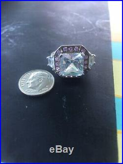Sterling Silver Ring Large CZ Cubic Zerconia Clear Pink Stones Size 5 1/4