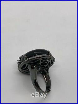 Sterling Silver Ring Spider Agate Cubic Zirconia