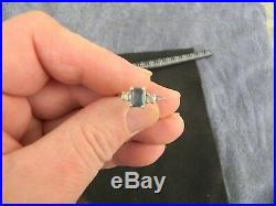 Sterling Silver Ring with RARE Blue Tourmaline Gemstone & Cubic Zirconia-Size 7